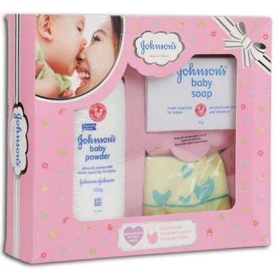 johnsons baby care pink kit 3 gift items