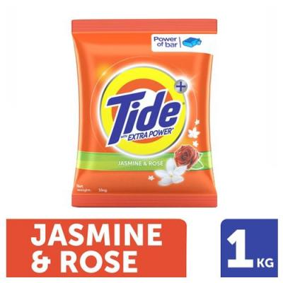Tide Plus Detergent Washing Powder - Extra Power Jasmine & Rose 1 kg Pouch