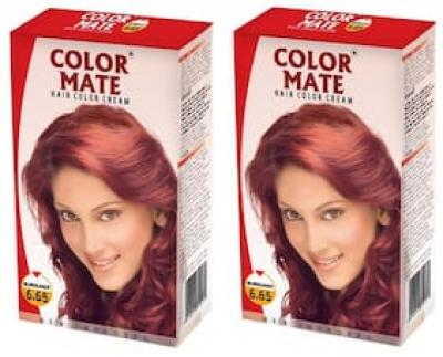 Color Mate Hair Color Cream - Burgundy 130 ml (Pack of 2)